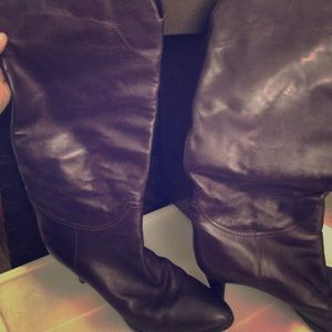 Sergio Rossi Eggplant Slouch Boot